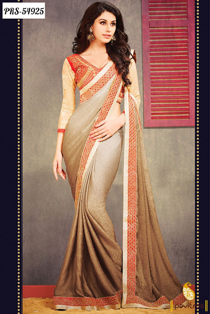 brown creape designer wedding sarees for New Year 2016 online collection with free shipping