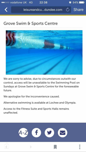 Grove Academy Swimming Pool shut on Sundays