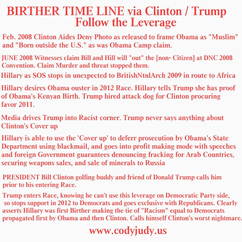Cody Robert Judy Special Report Birther Bomb Shell Hillary Went