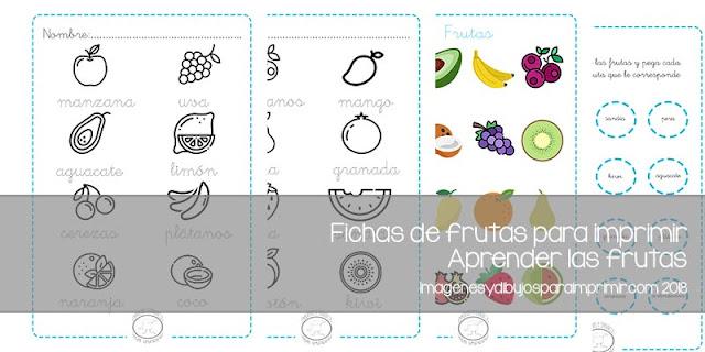 Fichas de frutas para imprimir