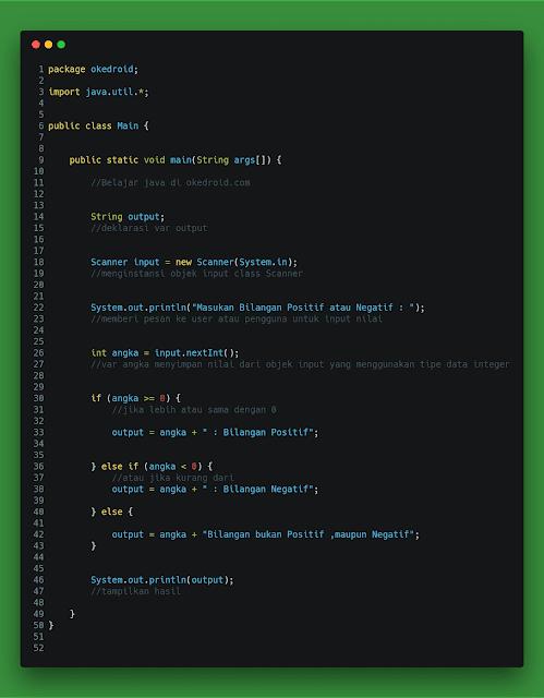 Contoh Code Program Cek Bilangan Positif dan Negatif Java