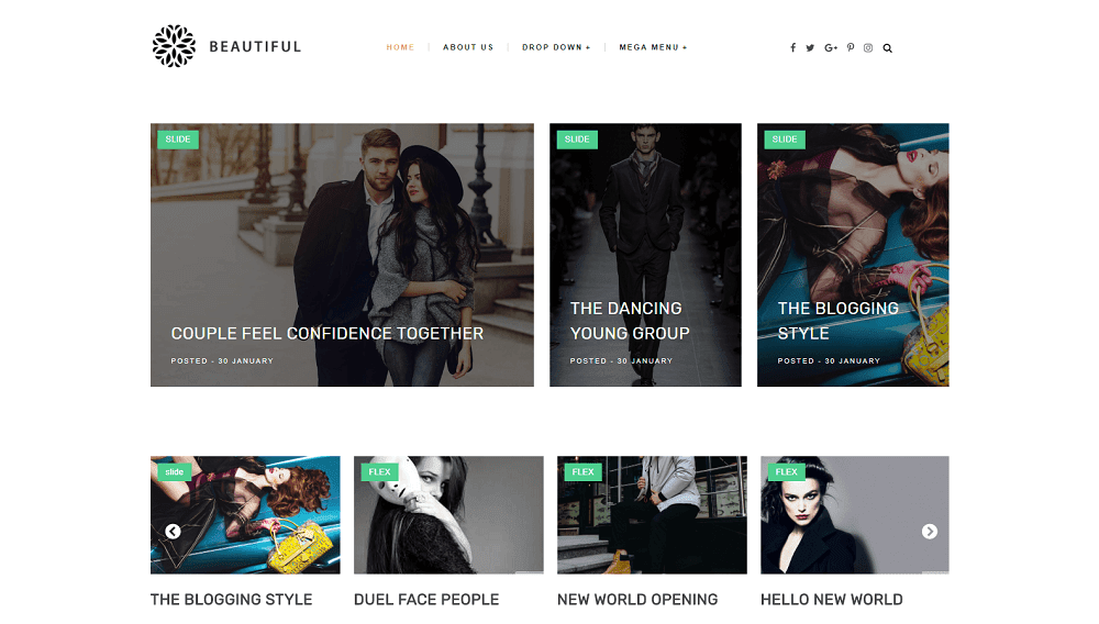 Beautiful - Minimalist Clean & Responsive Blogger Template