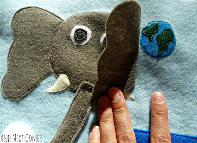 Elephant and earth details on letter E quiet book page from And Next Comes L