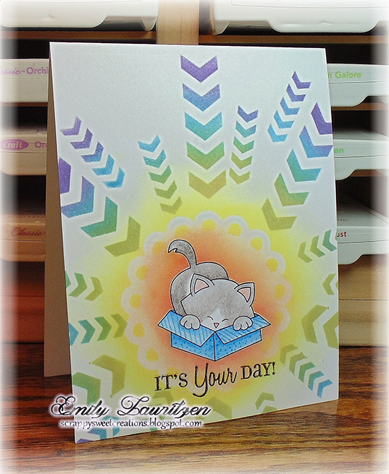 Cat in Box one layer Card by Emily Lauritzen | Stamps by Newton's Nook Designs