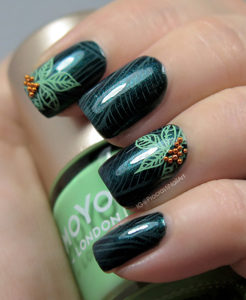 Nail art calming green leaves for the 30 days of colour nail art calming green leaves for the 30 days of colour challenge prinsesfo Gallery