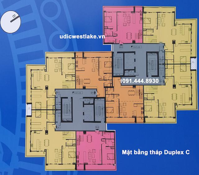 Mặt bằng thiết kế căn hộ dự án chung cư UDIC Westlake Võ Chí Công Tây Hồ