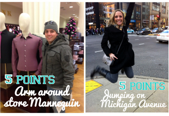 This Christmas photo hunt included taking pics jumping on Michigan Avenue and with a store mannequin.