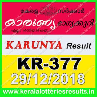 Kerala Lottery Result 29-12-2019 Karunya Lottery Results KR-377 keralalotteriesresults.in