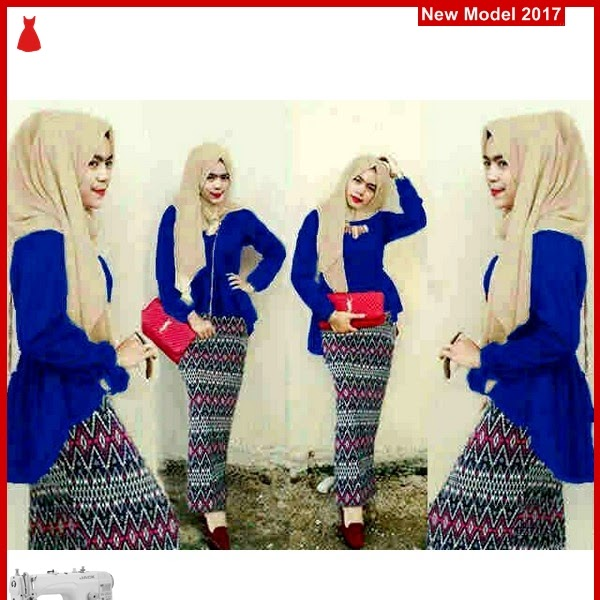 MSF0096 Model Hijab Peplum Zena Blue Tribal BMG