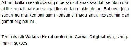Testimoni Madu Anak Walatra Hexabumin