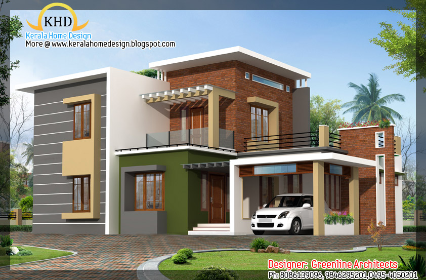 Contemporary home elevation 1915 sq ft kerala home for Veedu elevation