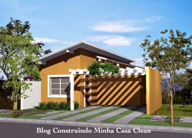 Construindo minha casa clean fachadas de casas t rreas for Fachadas de viviendas pequenas