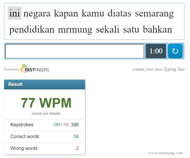 Tes Kecepatan Mengetik 10 Jari Anda Disini Mr Mung Dot Com