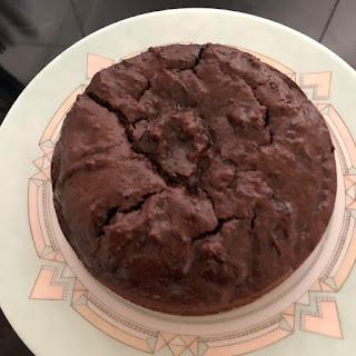 Gâteau soufflé au chocolat, noisette et yaourt (sans gluten et sans lactose) d'après une recette de Philippe Conticini après cuisson