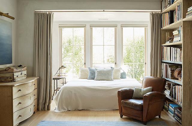 Beautiful modern farmhouse bedroom at Patina Farm...decor inspiration on Hello Lovely Studio