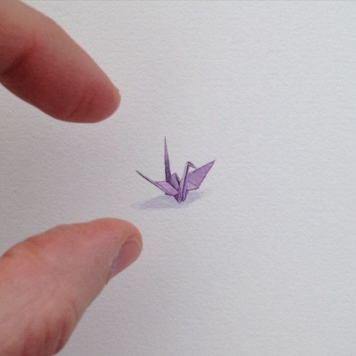 12-Purple-Origami-Crane-Brooke-Rothshank-Miniature-Paintings-www-designstack-co