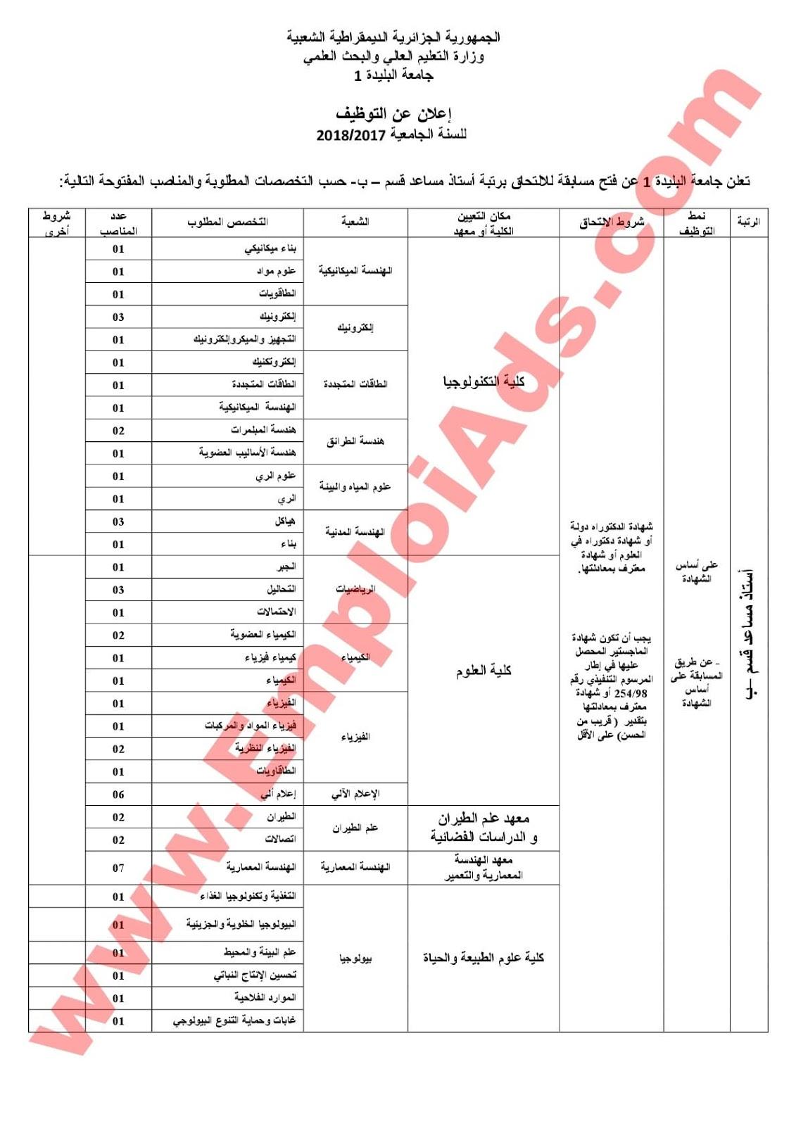 اعلان عن مسابقة توظيف أساتذة مساعدين قسم ب في جامعة سعد دحلب ولاية البليدة ماي 2017