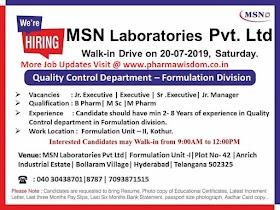 MSN Laboratories Pvt Ltd Walk In Drive on 6th July 2019