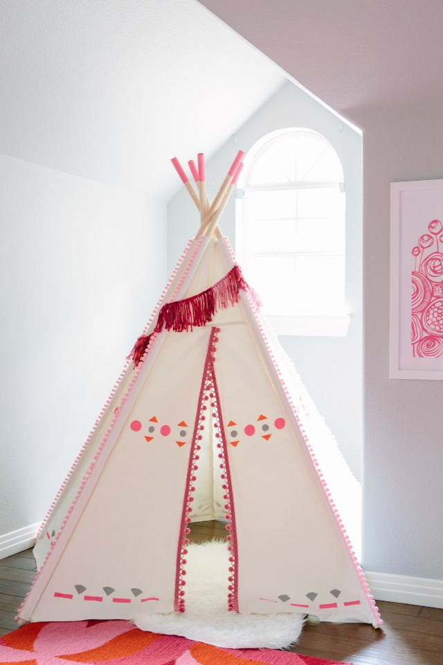 DIY Decorated Teepee   Just Add Pom Pom Trim And Colorful Shapes To Make It