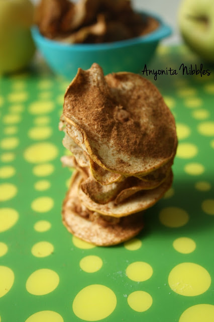 A stack of autumn spiced apple crisps from www.anyonita-nibbles.com