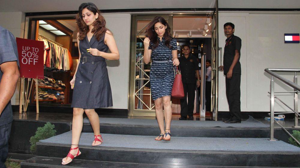 Yami Gautham Stills In Mini Blue Dress At Mumbai Bandra