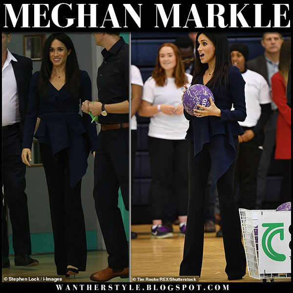 Meghan Markle in navy draped top oscar de la renta and black pants altuzarra royal family fashion september 24