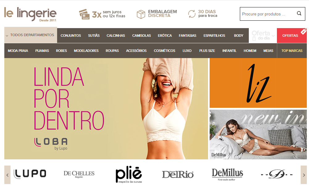 f163c8e16 A Le Lingerie é uma boutique virtual de luxo que concentra diversas marcas  como  Demillus