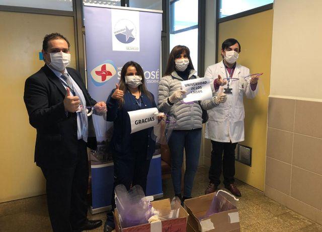 Entrega de protectores faciales en el Hospital Base de Osorno