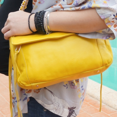 AwayFromTheBlue | Rebecca Minkoff Swing bag in canary yellow silver black bracelet stack