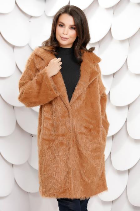 Palton femei foarte ieftin lung maro din blana ecologica