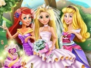 Play the best free Disney Princess games, enjoy Rapunzel Wedding Party on GamesGirlGames.com. It`s a wonderful day for a wedding, Rapunzel has asked two of her best friends to be her bridesmaids, princesses Aurora and Ariel, let the fun begin! Plan this magical event with your decoration skills, help the three princesses pick out the right dresses and make sure everything goes well. See who catches the bouquet, open a bottle of champagne, and enjoy the party you created.