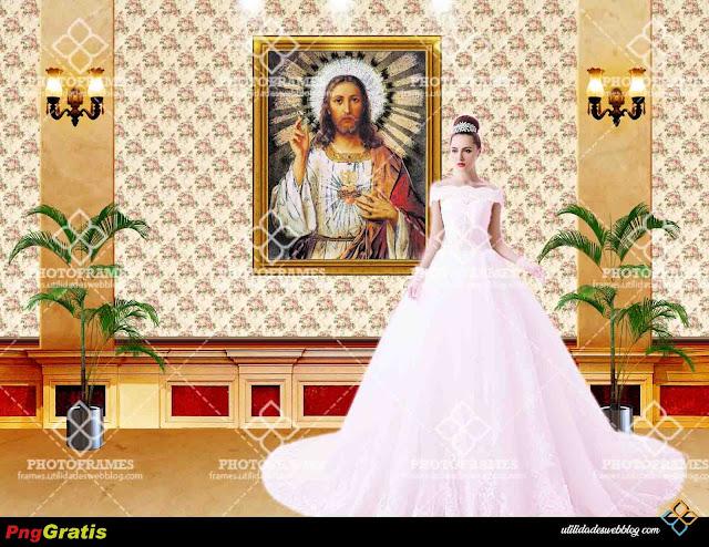 Fondo prediseñado del Corazón de Jesús para fotomontajes