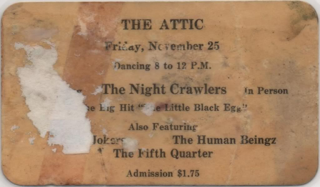 THE ATTIC - YOUNGSTOWN OHIO ORIGINAL TICKET FROM 1966