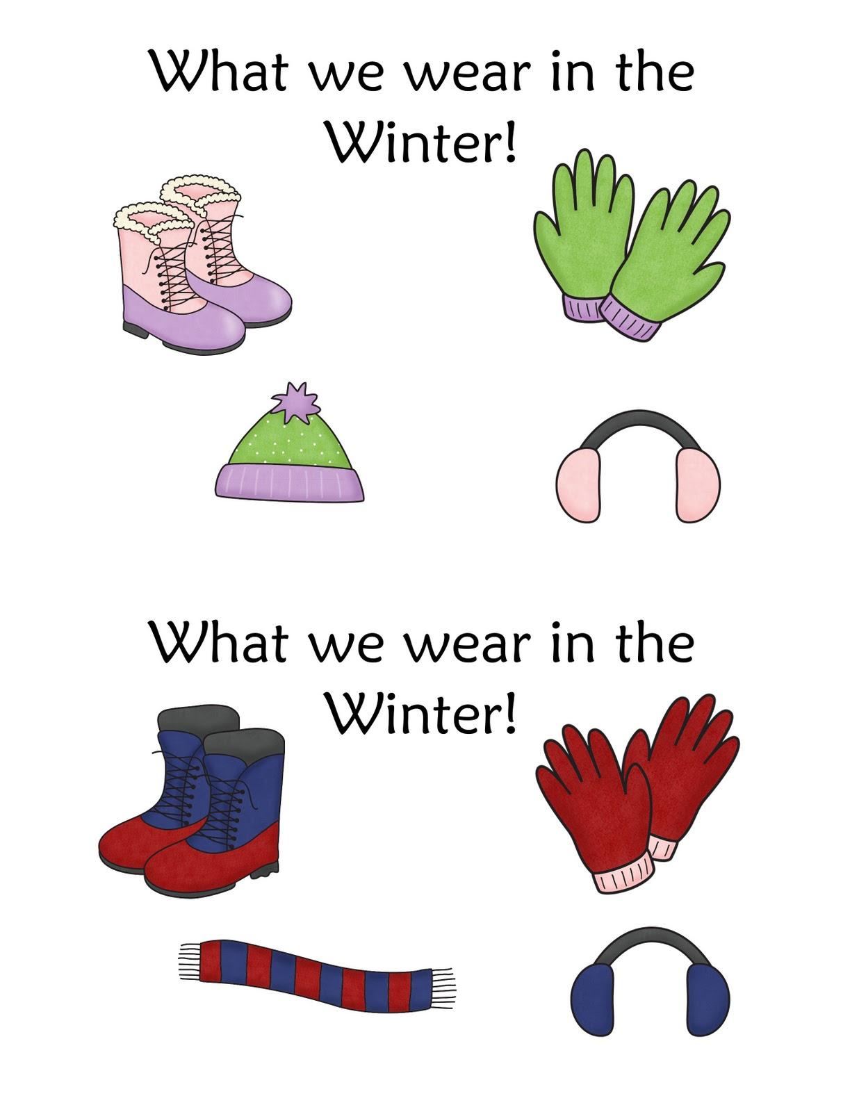 Clothing Worksheet For Pre K Winter
