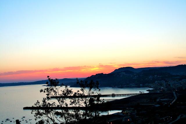 mare, alberi, tramonto, cielo, acqua