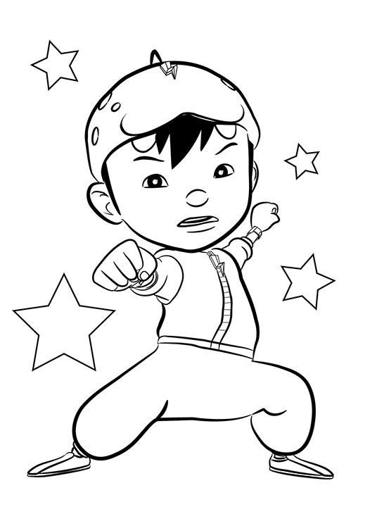 Sketsa Gambar Mewarnai Kartun Boboiboy Halilintar Terbaru