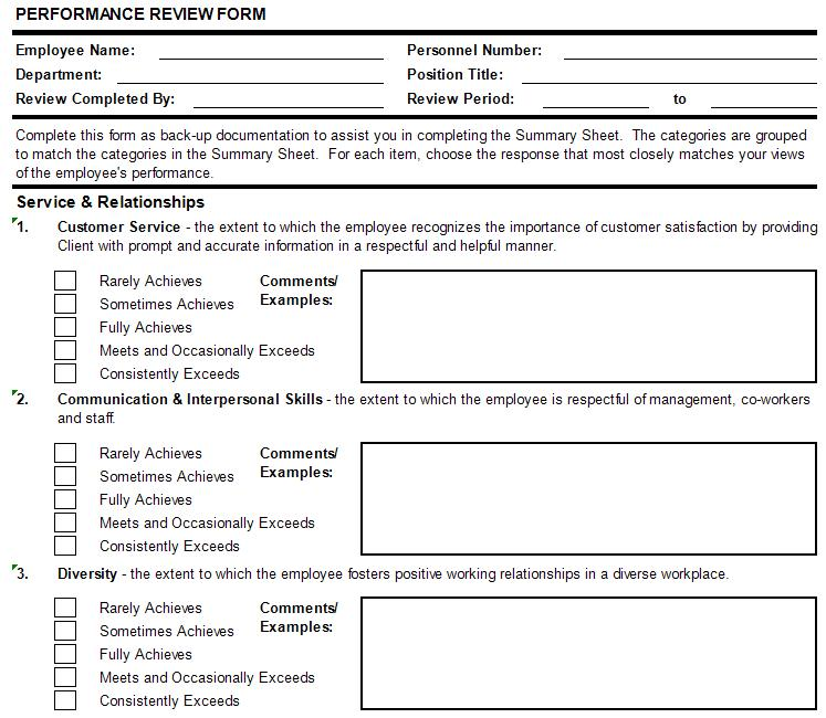 Performance Appraisal Form Template Doc