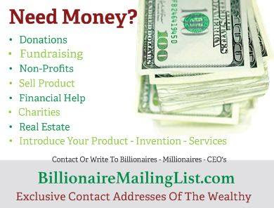 Billionaire Mailing List - Contact Addresses of the Wealthy