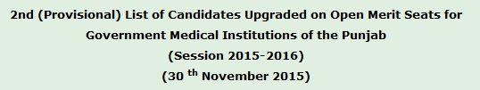UHS 2nd MBBS Merit List 30th November 2015
