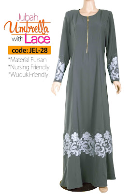 Jubah Umbrella Lace JEL-28 Grey Depan 2