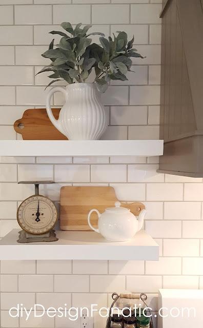 farmhouse kitchen, cottage kitchen, white kitchen, subway tile, custom range hood, open shelves, kitchen decor