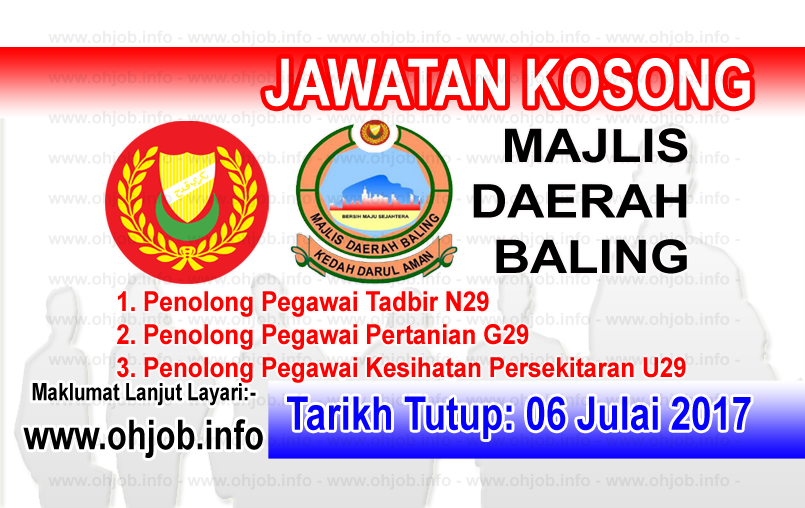 Jawatan Kerja Kosong Majlis Daerah Baling logo www.ohjob.info julai 2017