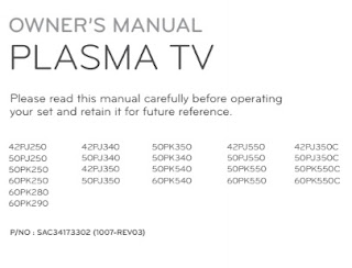 LG 42PJ350 Manual