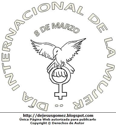 Imagen al Día Internacional de la Mujer para colorear, pintar e imprimir (Paloma llevando el símbolo del sexo femenino). Dibujo hecho por Jesus Gómez
