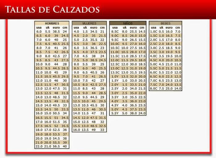 Mexico Unidos De Y Medidas Estados Zapatos Tabla De De