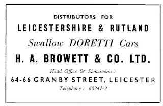 Press advert for the Swallow Doretti at H A Browett & Co Ltd