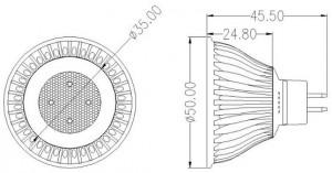 Diagrams of MR16 LED Spotlights