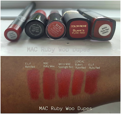 MAC Ruby Woo on Dark Skin, MAC Swatches Lipstick
