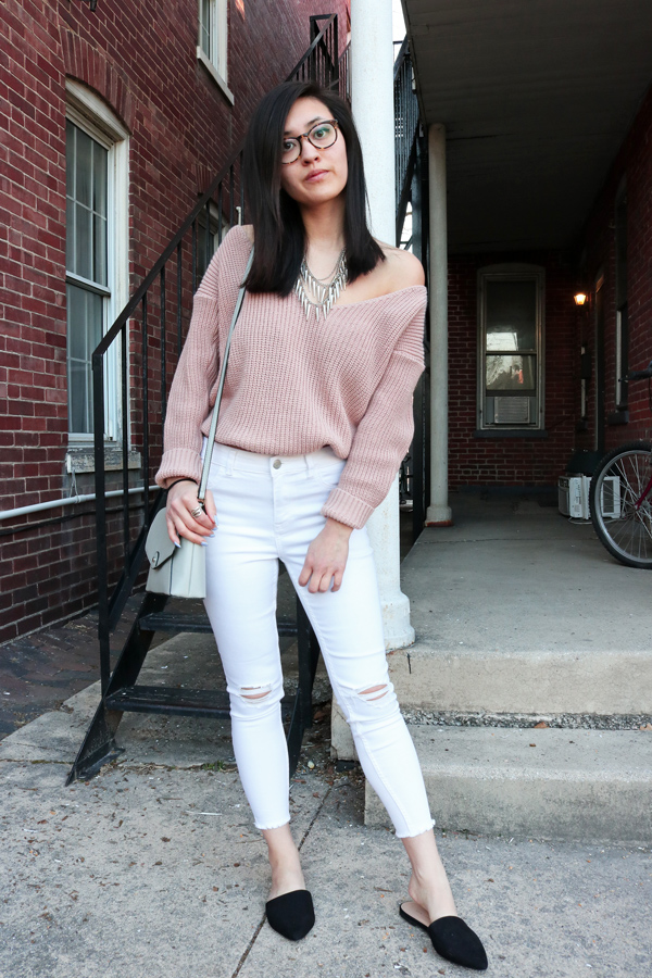 Spring Outfit Idea: Blush Pink Sweater, White Jeans, Slip On Mules