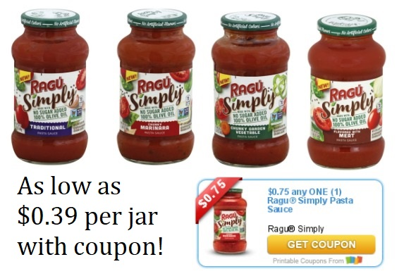 image about Ragu Printable Coupons titled Ragu® Easily Pasta Sauce as minimal as $0.39 for each jar with coupon